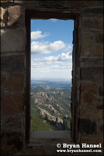 window and black hills