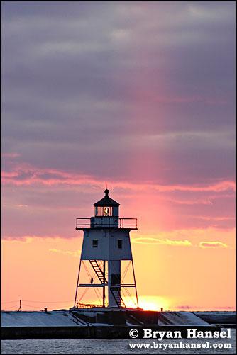 Grand Marais Lighthouse and Sun Pillar