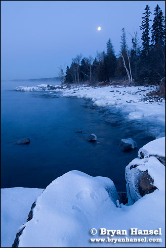 Winter Moonset over Lake Superior