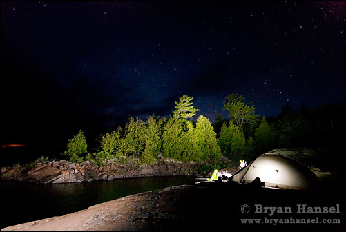 night shot of tent