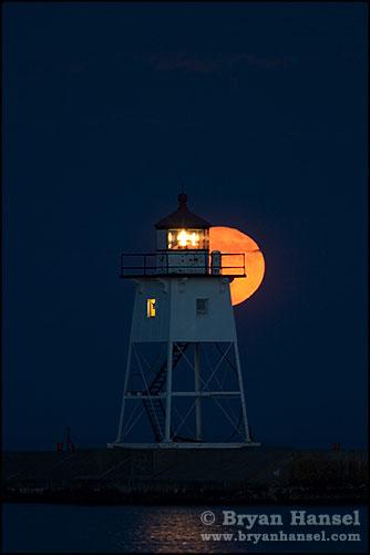Grand Marais Lighthouse and Moon