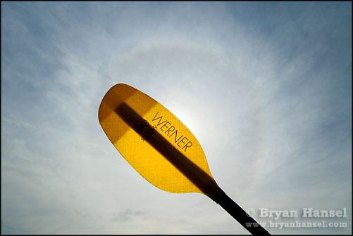 Werner kayak Paddle and Ring 22 degree circular halo around the sun