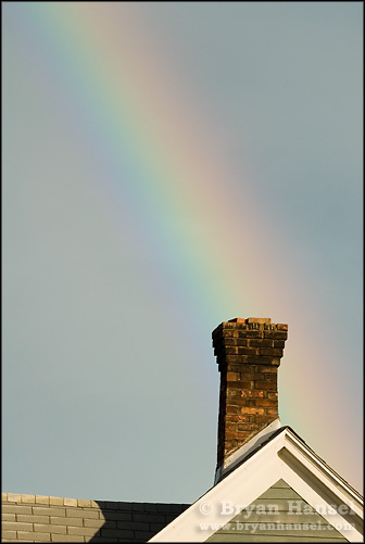 Clean air rainbow from chimney