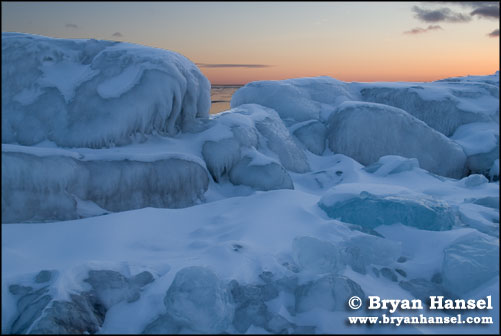 Lake Superior Ice formations at sunset