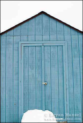 Blue shed in Winter