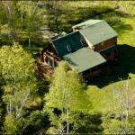 Aerial photography of Lake Superior real estate.