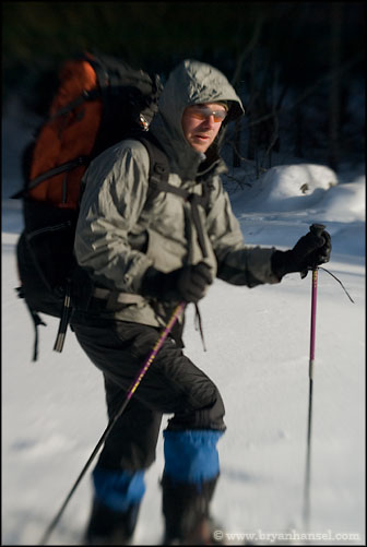 Adam Harju on snowshoes
