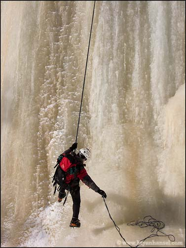 Erik on Rappel on the Cascade River Ice climbing