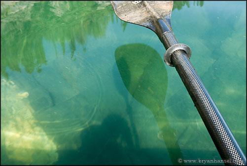 Lake Superior and reflected kayak paddle