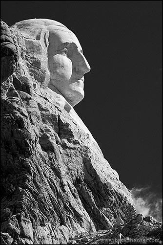 Mount Rushmore George Washington Profile Black and White