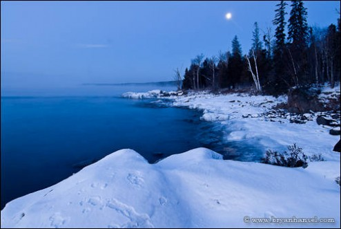 Lake Superior shoreline in Winter at a Winter Photography Workshop.