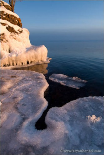 Lake Superior ice at sunset in winter.