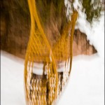 Traditional snowshoes in Devil Track Canyon.
