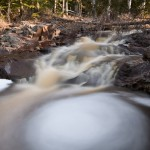 Swirling water near a cascade on the Fall River.