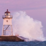 Grand Marais Lighthouse and Waves during the Gales of November