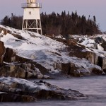Grand Marais lighthouse in winter. Cook County, Minnesota.