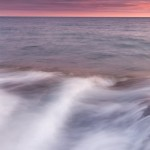 The sun sets over Lake Superior. Minnesota.