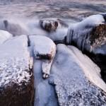 Ice-coated rocks on Lake Superior.
