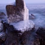 Ice-coasted rock on Lake Superior.