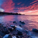 Pink clouds over Lake Superior.