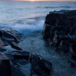 Sunrise and waves on Lake Superior near Grand Marais, MN.