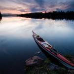 kayak at sunset on Cascade Lake