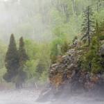 Lake Superior shoreline in the fog