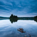 blue sunset over Two Island Lake