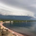A shelf cloud passes over Grand Marais, Cook County, Minnesota.