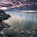 Blue and purple sunrise over Lake Superior