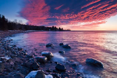 a pink sky near grand marais on lake superior