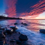 sunrise over lake superior near grand marais