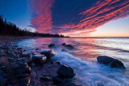 sunrise over lake superior near grand marais