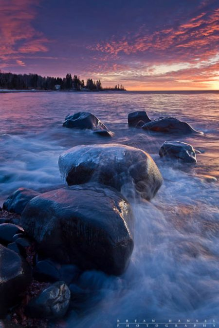 ice rocks with waves on Lake Superior