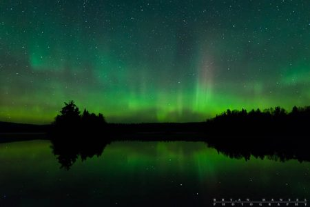 The northern lights over Two Island Lake, Minnesota.