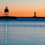 Grand Marais Lighthouse Light Reflections at Dusk