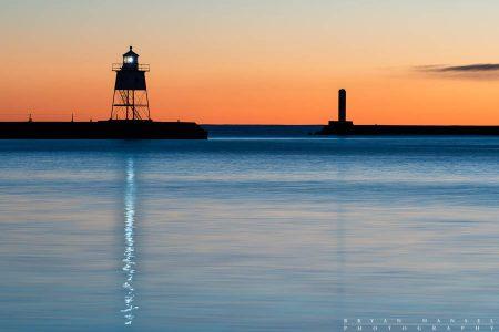 Grand Marais Lighthouse Light Reflections at Dusk