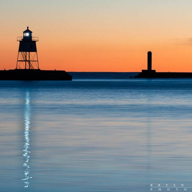 Lighthouse Reflections at Dusk