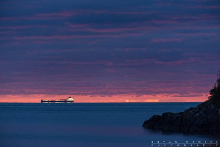 freighter on Lake Superior at dawn