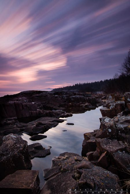 a sky like amethyst over lake superior