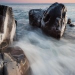 waves and rocks on lake superior