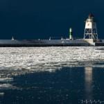 Grand Marais lighthouse in winter