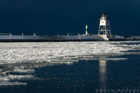 Grand Marais lighthouse in winter