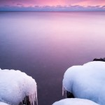 icy Lake Superior shoreline at sunset