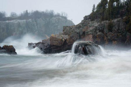 The Gales of November pound Silver Bay's rocky shoreline. Lake Superior, Minnesota.