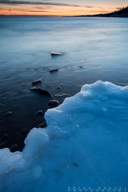 sunset and ice on lake superior