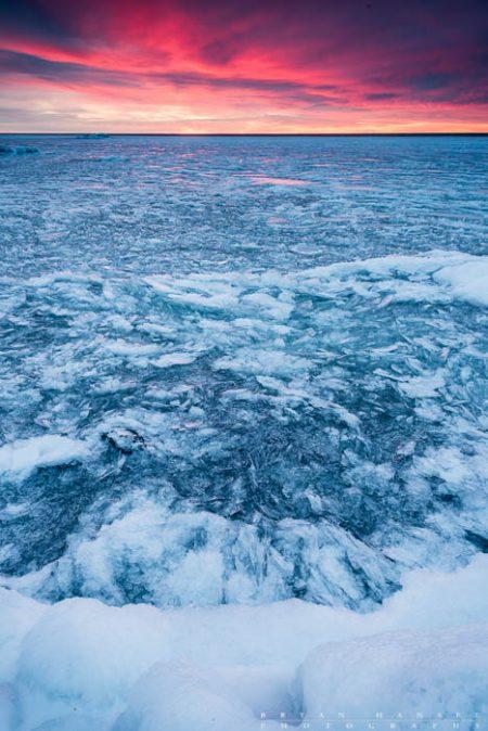 ice on lake superior at sunrise
