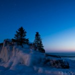 stars and dusk at Hollow Rock, Grand Portage