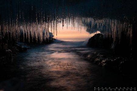ice cave on lake superior, cook county, minnesota