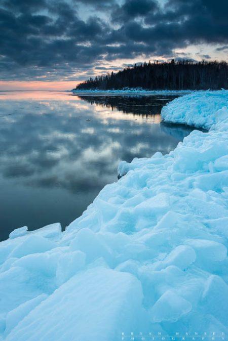 blue ice pile on lake superior.